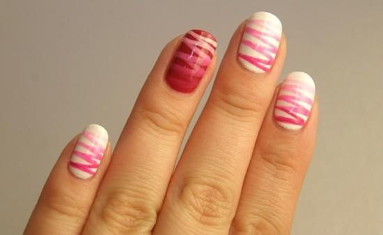 1st Zig zag nail art