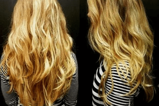 Long V cut curly hairstyle
