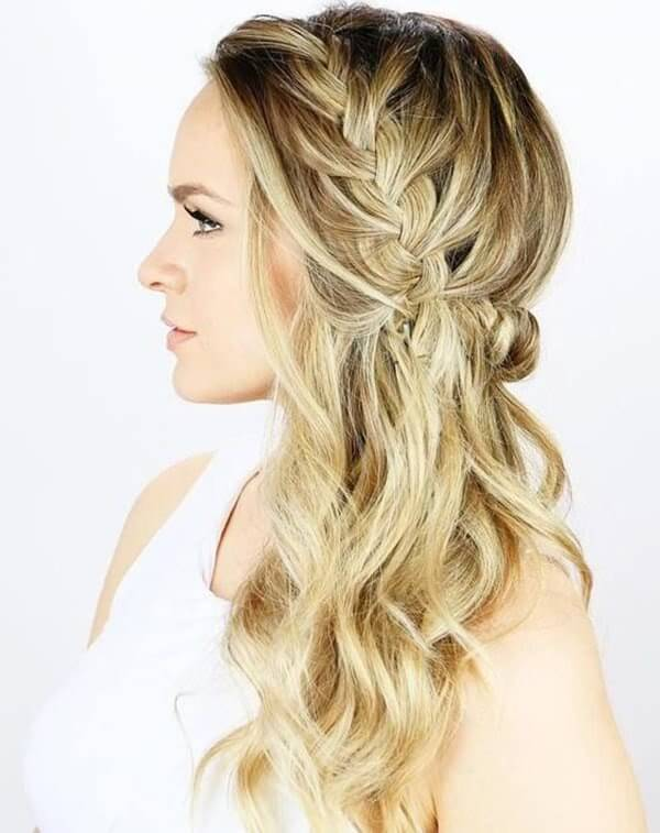 Middle part loose side braid